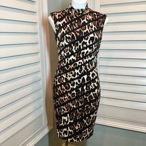 Cache Animal Print Zipper Dress, Medium
